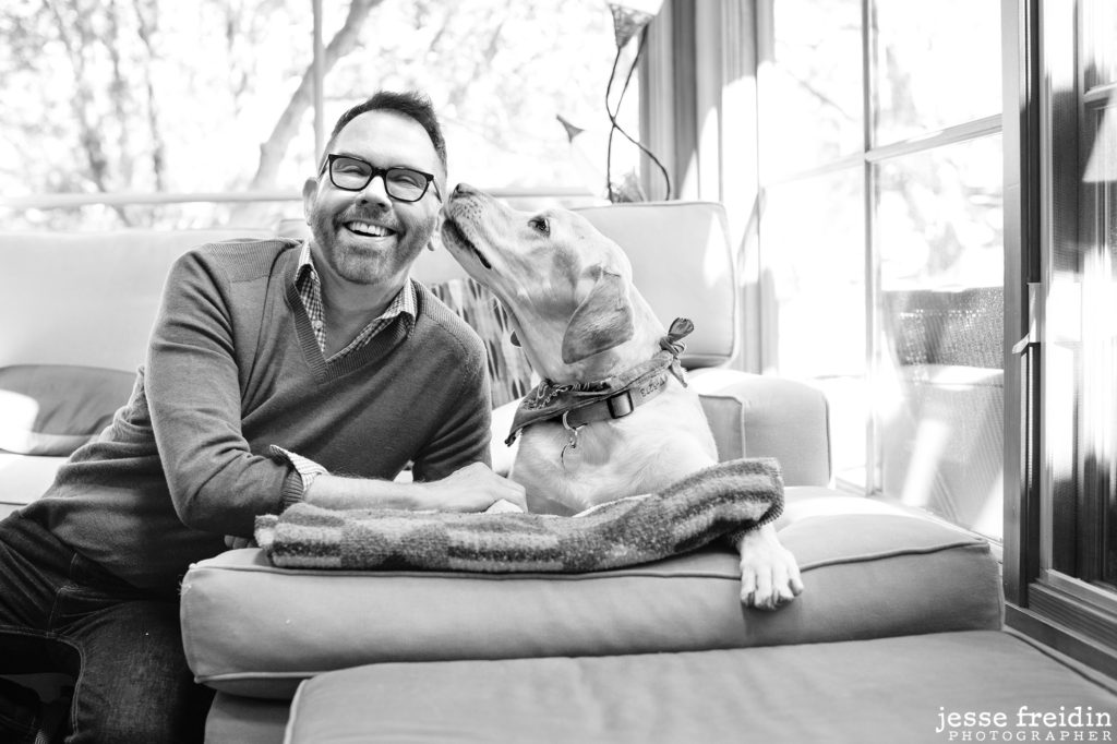 Santa Fe Gay Realtor Mark Banham with his dog