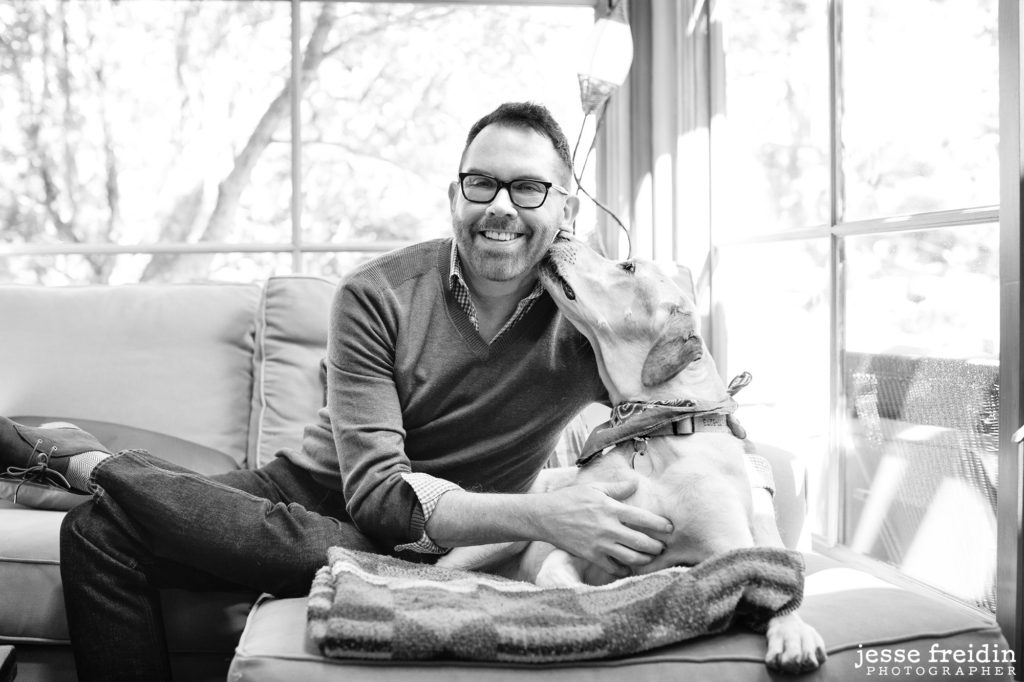 Santa Fe gay Realtor & dog photographed by Jesse Freidin
